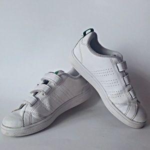 Used boys Adidas White & green velcro 3stripe